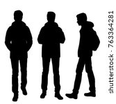 vector silhouettes of men... | Shutterstock .eps vector #763364281