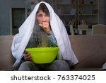 sick man doing inhalation at... | Shutterstock . vector #763374025