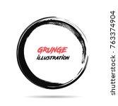 black ink round stroke on white ...   Shutterstock .eps vector #763374904