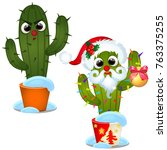 set angry cactus and decorated... | Shutterstock .eps vector #763375255
