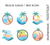 beach bay sea palm island logo... | Shutterstock .eps vector #763375267