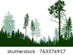 illustration with fir trees... | Shutterstock .eps vector #763376917