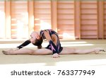 young girl doing gymnastics.   Shutterstock . vector #763377949
