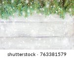 christmas background. selective ... | Shutterstock . vector #763381579