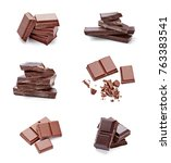 close up of chocolate pieces on ... | Shutterstock . vector #763383541
