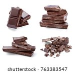 close up of chocolate pieces on ... | Shutterstock . vector #763383547