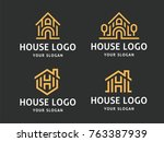 set of 4 vector logos. abstract ... | Shutterstock .eps vector #763387939