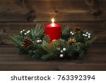 first advent   decorated advent ...   Shutterstock . vector #763392394