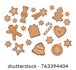 christmas gingerbread cookies... | Shutterstock .eps vector #763394404