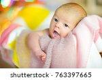 beautiful newborn baby lies in... | Shutterstock . vector #763397665
