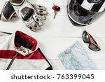 overhead view of biker... | Shutterstock . vector #763399045