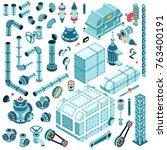 large set of isometric... | Shutterstock .eps vector #763400191