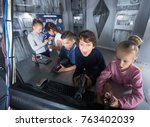 group of friendly children are... | Shutterstock . vector #763402039