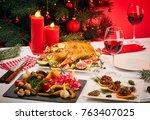 Christmas Table With Roast Duck