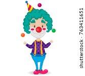 funny clown juggles on white... | Shutterstock .eps vector #763411651