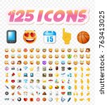set of realistic cute icons on... | Shutterstock .eps vector #763413025
