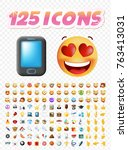 set of realistic cute icons on... | Shutterstock .eps vector #763413031