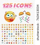 set of realistic cute icons on... | Shutterstock .eps vector #763413034