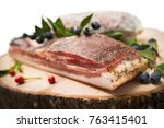 guanciale  an cured meat... | Shutterstock . vector #763415401
