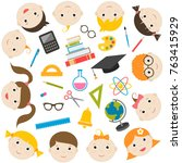 school theme colorful icons and ... | Shutterstock . vector #763415929