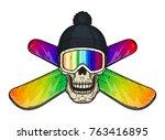 skull in ski goggles  hat and... | Shutterstock .eps vector #763416895