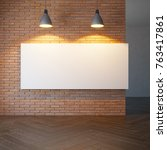blank picture on the brick wall ... | Shutterstock . vector #763417861