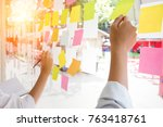 business people post it notes... | Shutterstock . vector #763418761
