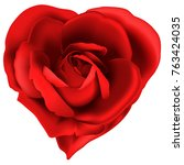 red rose as heart isolated on a ... | Shutterstock .eps vector #763424035