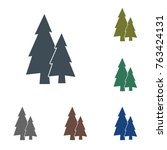 fir trees forest flat icon  | Shutterstock .eps vector #763424131