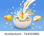 instant oatmeal and pear in... | Shutterstock .eps vector #763424881