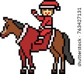 vector pixel art santa ride... | Shutterstock .eps vector #763427131