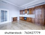 the kitchen is solid wood in a... | Shutterstock . vector #763427779