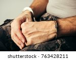 handcuffed soldier in military... | Shutterstock . vector #763428211