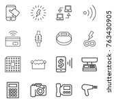 thin line icon set   touch ... | Shutterstock .eps vector #763430905