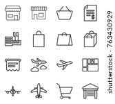thin line icon set   shop ... | Shutterstock .eps vector #763430929