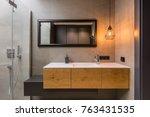 integral countertop sink on... | Shutterstock . vector #763431535