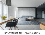 stylish living room in gray... | Shutterstock . vector #763431547