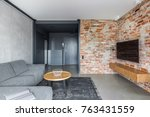 exposed brick wall and concrete ... | Shutterstock . vector #763431559