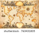 a large ancient map of the... | Shutterstock . vector #763431835