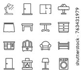 thin line icon set   table lamp ... | Shutterstock .eps vector #763431979
