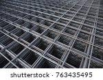 steel rebars for reinforced... | Shutterstock . vector #763435495