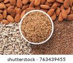 homemade lsa mix in plate  ...   Shutterstock . vector #763439455