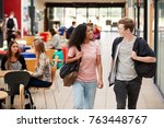 communal area of busy college... | Shutterstock . vector #763448767