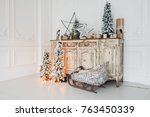 christmas decoration on ancient ... | Shutterstock . vector #763450339