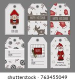 hand drawn christmas tags ... | Shutterstock .eps vector #763455049