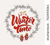 winter time words on a texture... | Shutterstock .eps vector #763455061