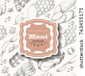vector background with meat... | Shutterstock .eps vector #763455175