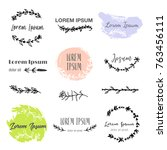 hand drawn logo templates in... | Shutterstock .eps vector #763456111