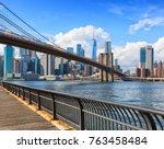 the brooklyn bridge with lower...   Shutterstock . vector #763458484