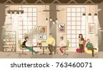 concept of the coworking office....   Shutterstock .eps vector #763460071